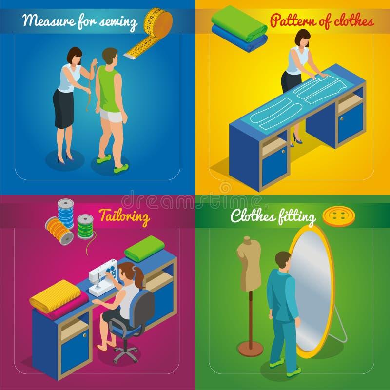 Alfaiate isométrico Shop Concept ilustração stock
