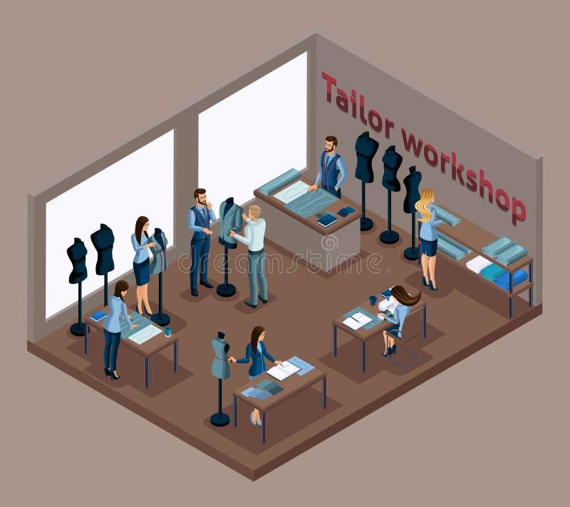 Alfaiate isométrico, trabalhando com um cliente em uma roupa da oficina da costura, da criação e tornar-se, costurando a roupa el ilustração royalty free