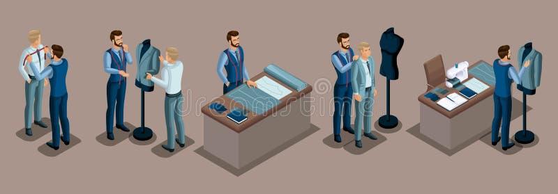 Alfaiate isométrico, trabalho com um cliente em uma oficina da costura, corte, dimensões, preparando a roupa, encaixe, máquina de ilustração royalty free