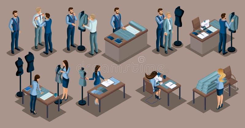 Alfaiate isométrico, um grupo de mini conceitos para alfaiates em uma empresa de costura privada, homens e mulheres O empresário  ilustração do vetor