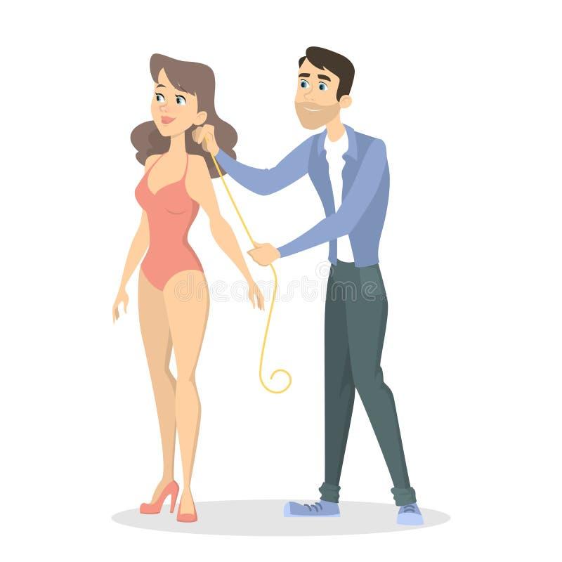 Alfaiate que mede o corpo ilustração stock