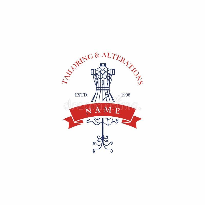 Alfaiate Sewing Company Vintage, Logo Design retro ilustração do vetor