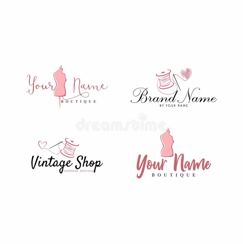 Alfaiate Sewing Vintage, manequim, forma, Logo Set floral, retro ilustração stock