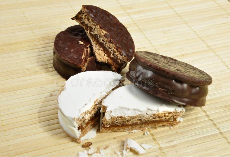 Alfajor del chocolate y del azúcar pulverizado fotografía de archivo libre de regalías