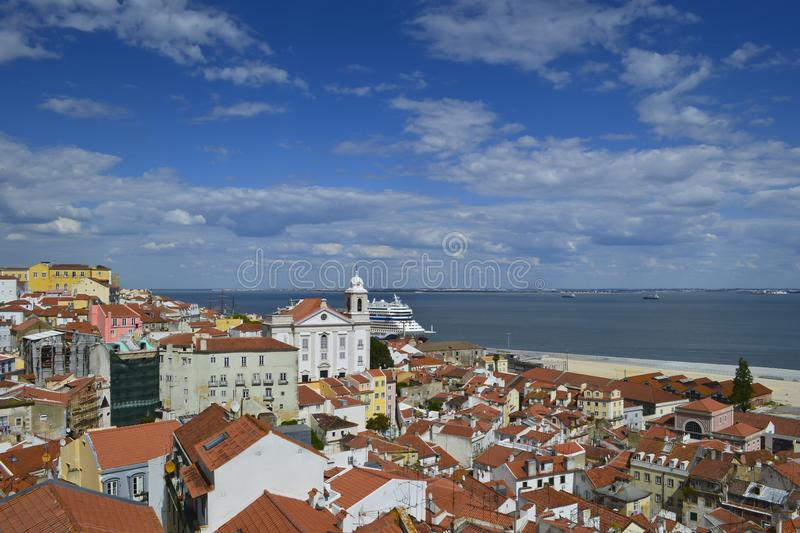 Alfama, with the churches of Saint Vicente de Fora and the Tagus. Behind, Portugal stock photography