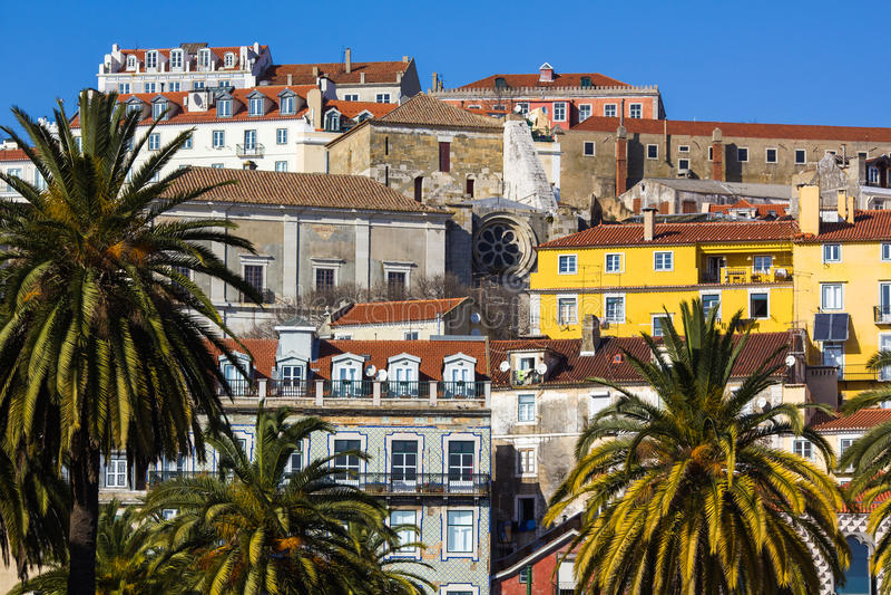Alfama - de oude stad van Lissabon, Portugal royalty-vrije stock foto's