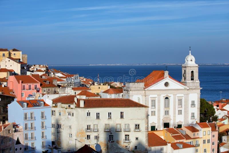 Alfama okręg w Lisbon fotografia royalty free