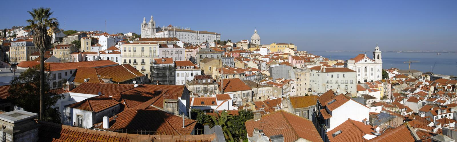 Alfama urban district panorama of Lisbon. royalty free stock images