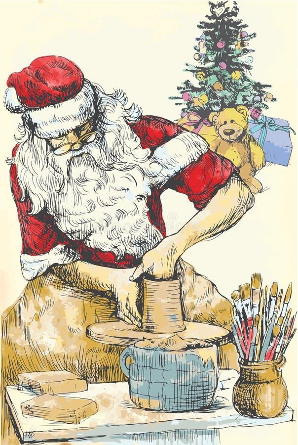 Alfarero de Papá Noel stock de ilustración