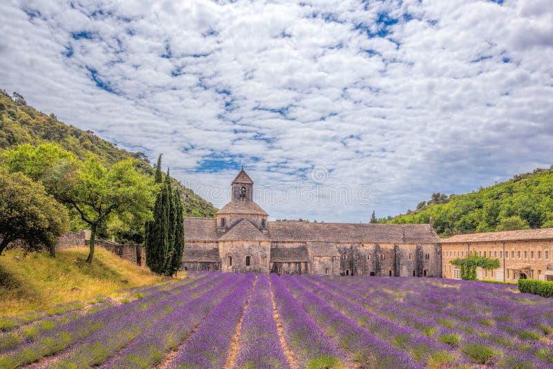 A alfazema coloca com o monastério de Senanque em Provence, Gordes, França fotos de stock royalty free