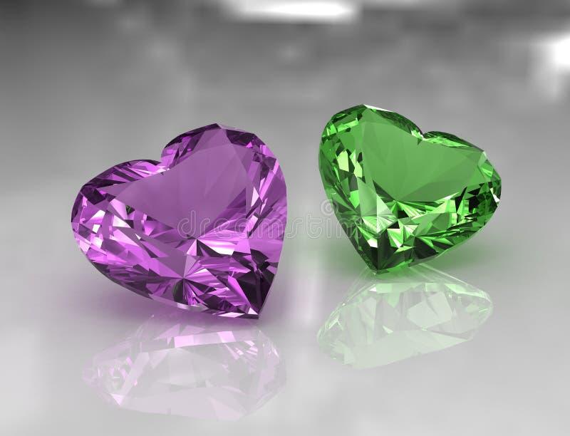 Alfazema da forma do coração e pedras amethyst verdes ilustração do vetor