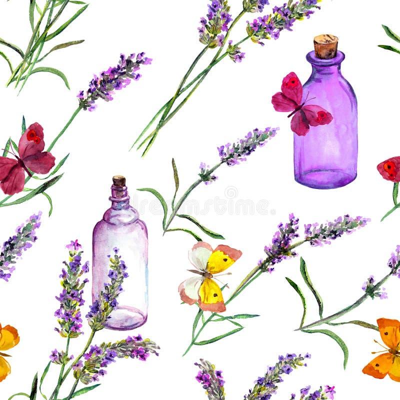 A alfazema floresce, garrafas de perfume do óleo, borboletas Repetindo o teste padrão para o cosmético, perfume, projeto da belez ilustração royalty free