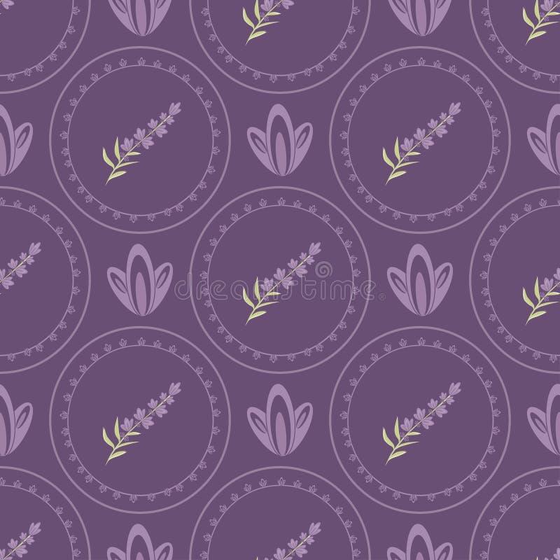 Alfazema sem emenda dos testes padrões do vetor ao estilo de Provence ilustração do vetor