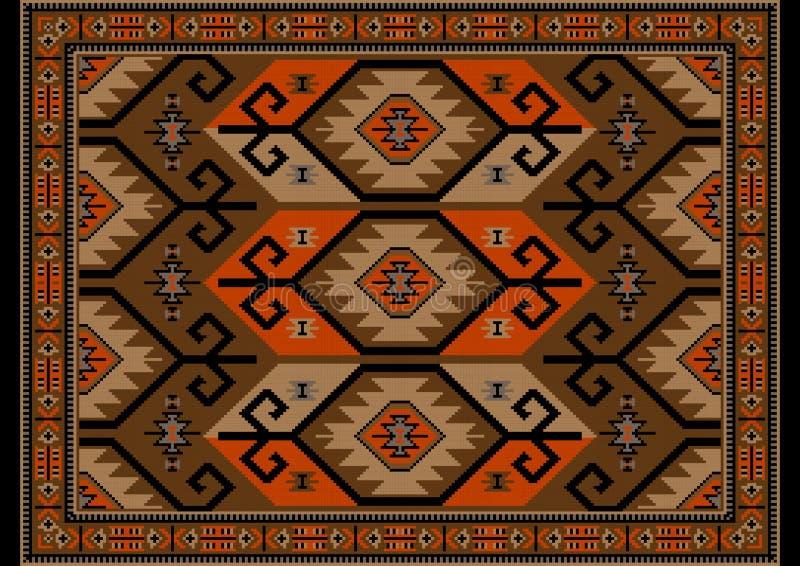 Alfombra oriental de lujo en sombras marrones, beige con los modelos anaranjados y negros en fondo negro ilustración del vector