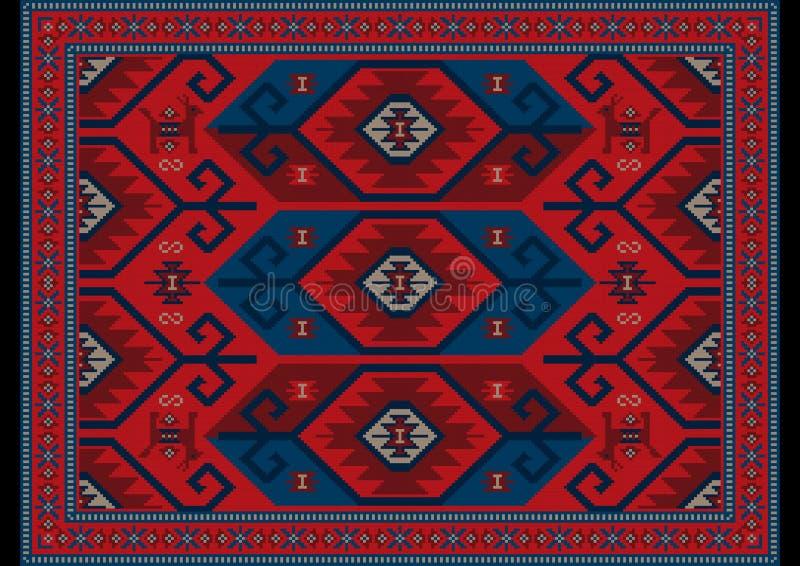 Alfombra oriental de lujo en sombras rojas, azules con los modelos marrón y grises en fondo negro imagen de archivo