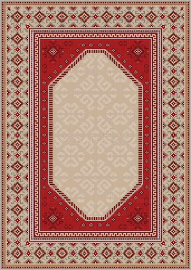 Alfombra oriental de lujo en tonos beige con los modelos del color rojo, gris, y de Borgoña libre illustration