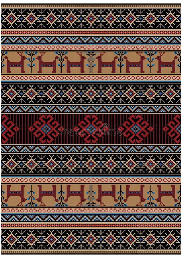 Alfombra oriental del vintage de lujo con los colores amarillos, rojos y negros y los ciervos estilizados, flores ilustración del vector