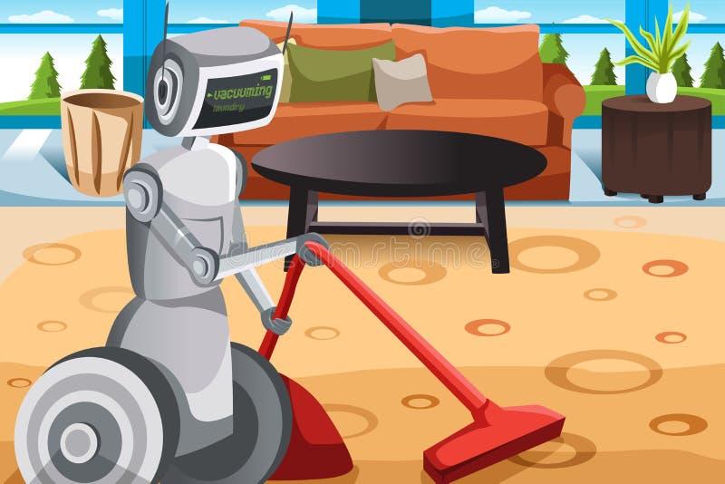 Alfombra que limpia con la aspiradora del robot stock de ilustración