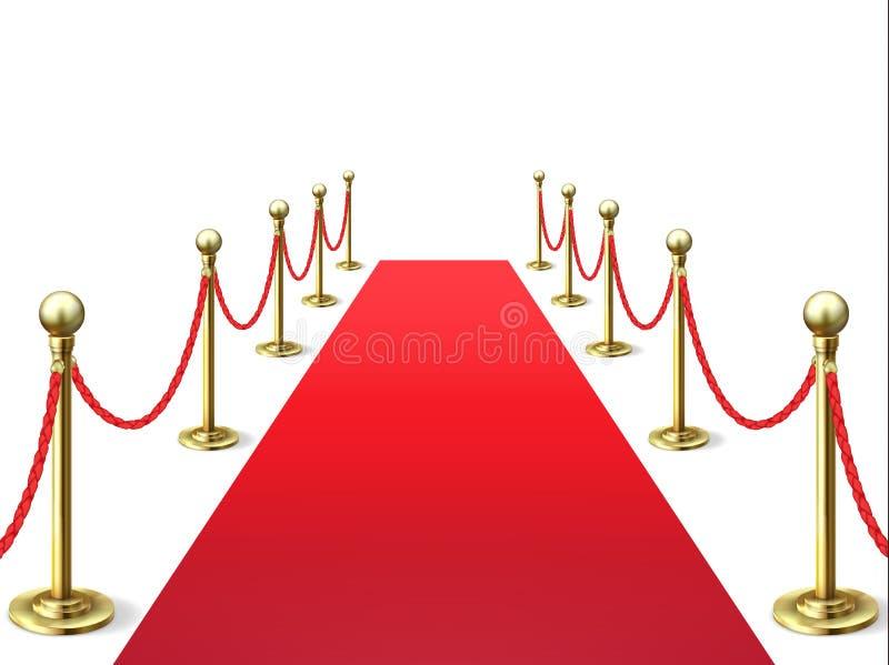 Alfombra roja Alfombras de la celebridad del acontecimiento con la barrera de la cuerda Interior del Vip Vector de la premier de  stock de ilustración