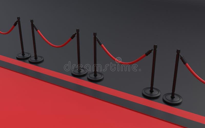 Alfombra roja con color negro en el ejemplo del fondo 3D ilustración del vector