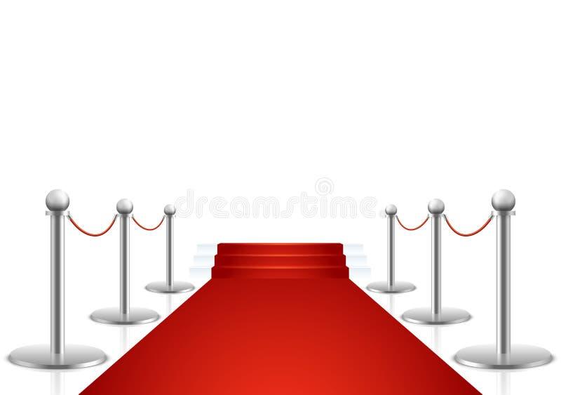 Alfombra roja con el ejemplo del vector de las escaleras stock de ilustración