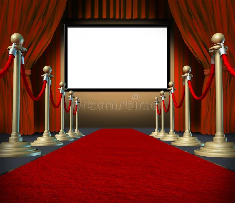 Alfombra roja de las cortinas del espacio en blanco de la etapa del cine ilustración del vector