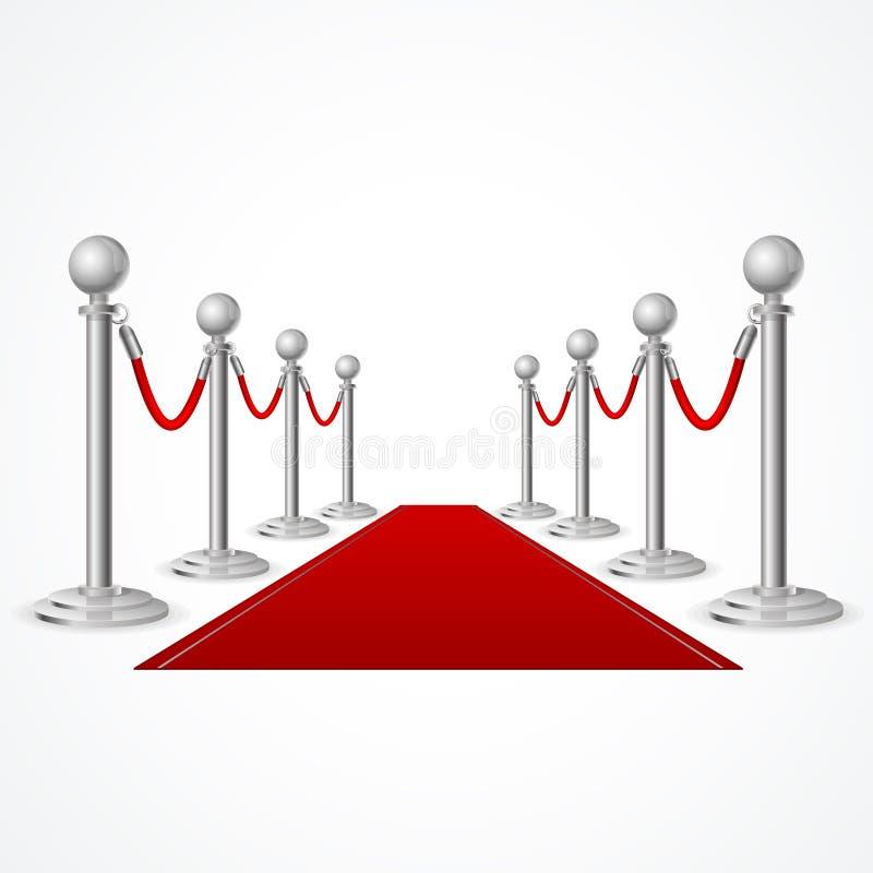 Alfombra roja del evento del vector aislada en blanco stock de ilustración