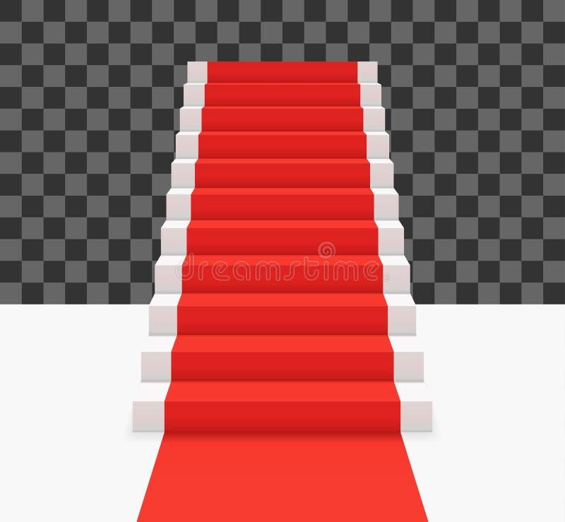 Alfombra roja en las escaleras blancas Ejemplo del vector de la vista delantera libre illustration