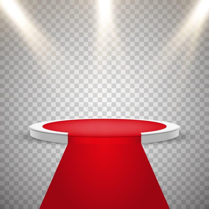 Alfombra roja y podio redondo con efecto luminoso libre illustration