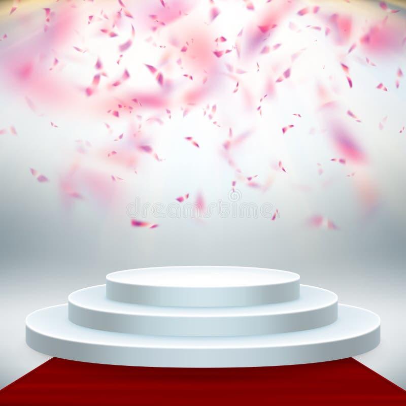 Alfombra roja y podio redondo con las luces y el efecto del confeti, fondo abstracto EPS 10 stock de ilustración