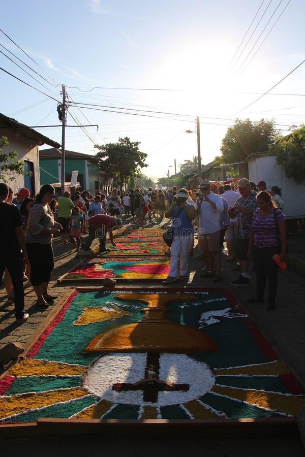 Alfombras de AsserÃn - tapetes da serragem - ³ n Nicarágua de Leà foto de stock royalty free