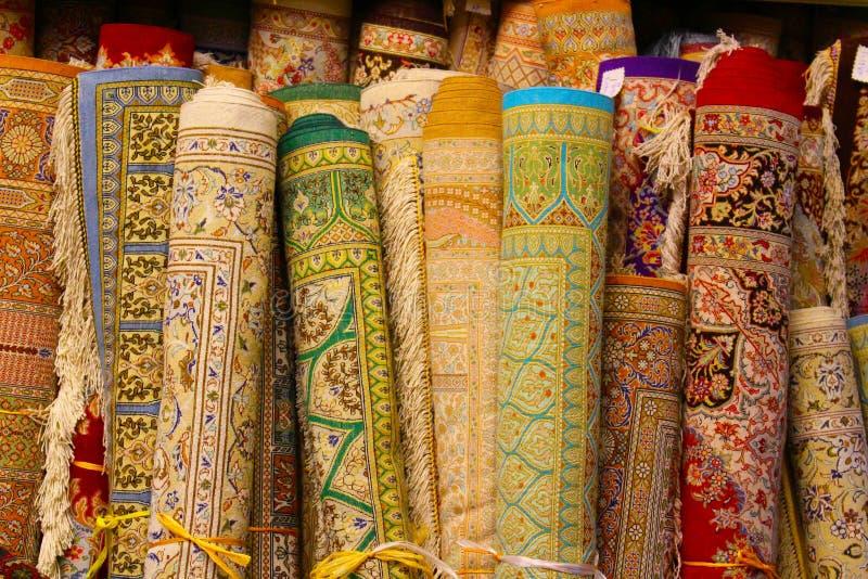 Alfombras persas en Yazd, Irán imagenes de archivo