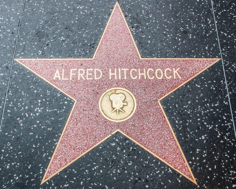 Alfred Hitchcock gwiazda na Hollywood spacerze sława obraz royalty free