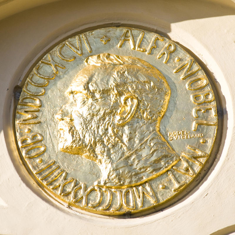 Alfred Nobel medallion. The Alfred Nobel-symbol/medallion outside the Nobel Peace Center at Aker Brygge, Oslo, Norway stock images