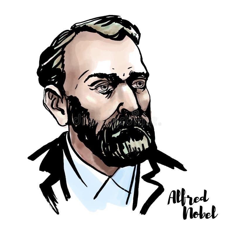 Alfred Nobel Portrait stock illustratie