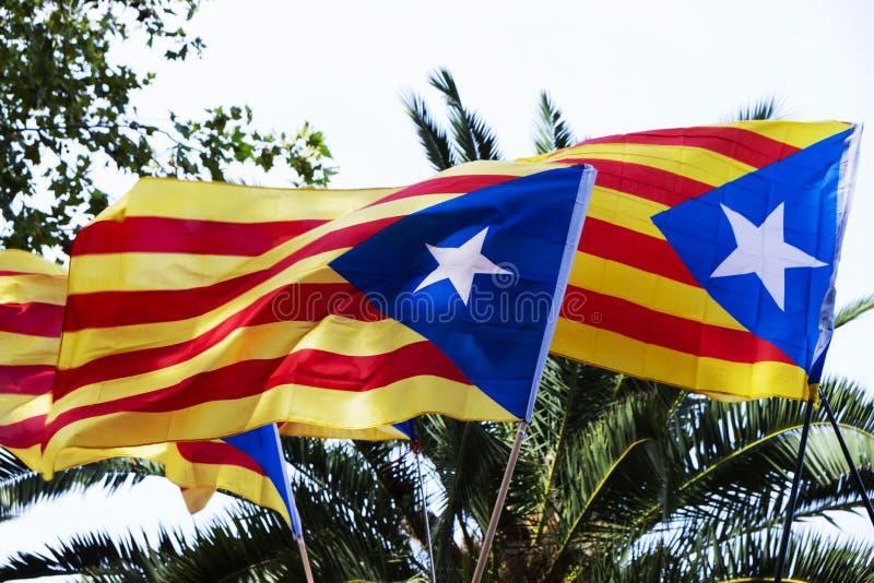 Algún estelada, la bandera catalan de la favorable-independencia, contra SK foto de archivo libre de regalías