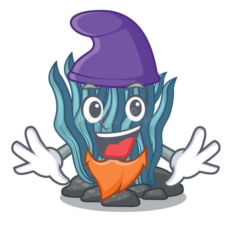 Alga blu di Elf nella mascotte di forma illustrazione vettoriale