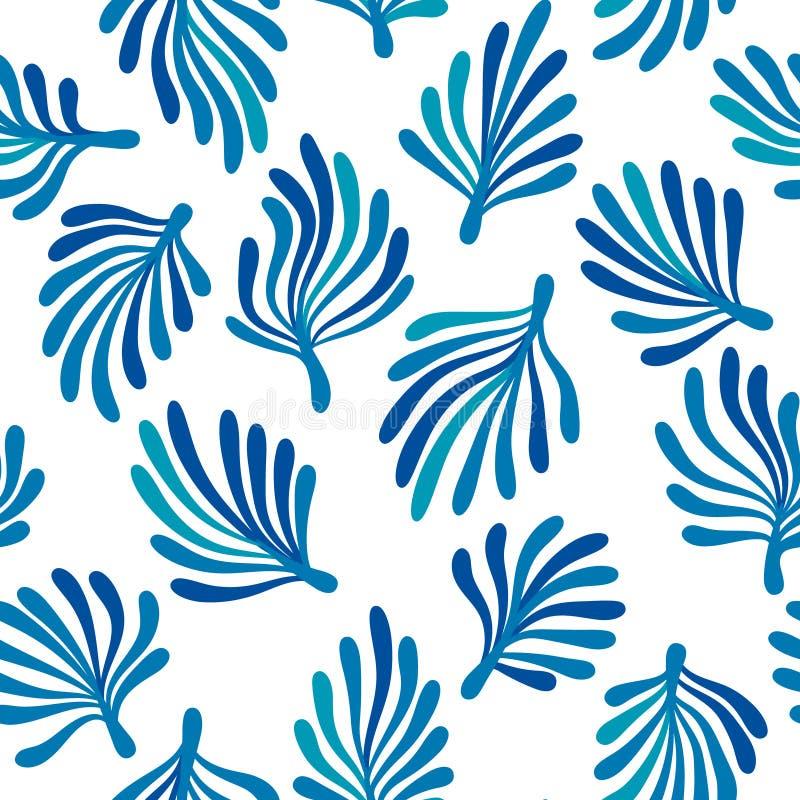 Alga marina azul en el modelo inconsútil de la flora blanca del océano, vector stock de ilustración
