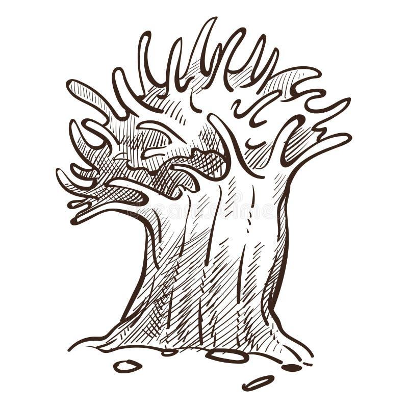 Alga o spugna, schizzo isolato animale subacqueo o del pianta royalty illustrazione gratis