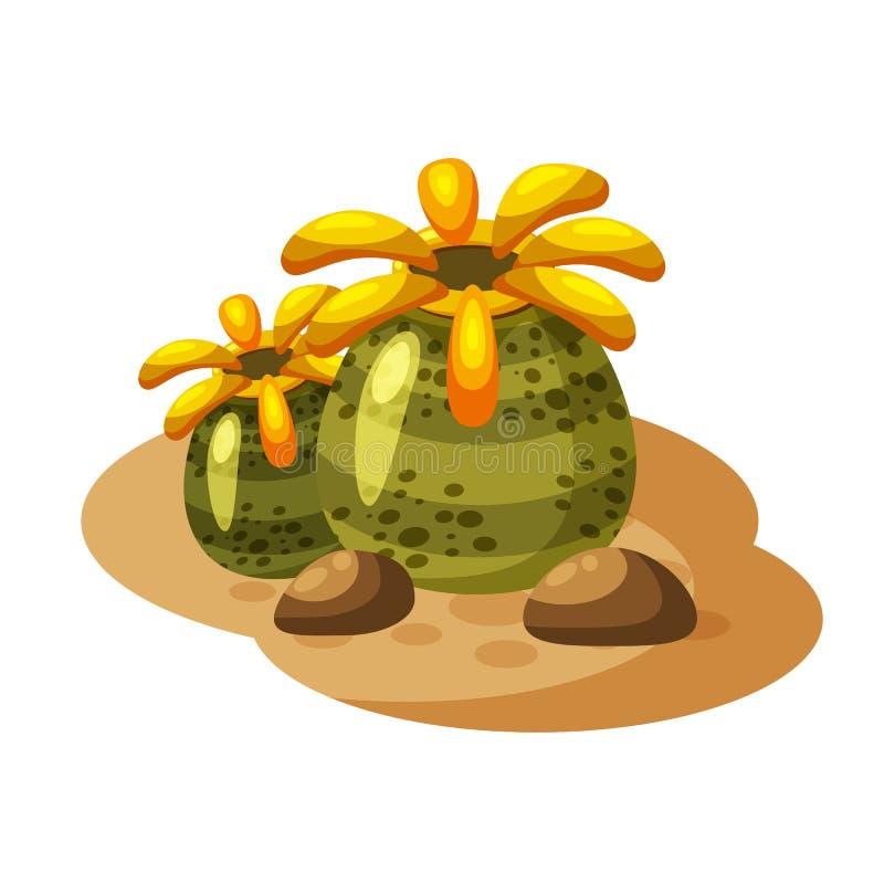 Alga sotto la pianta acquatica, stile del fumetto, isolato su fondo bianco illustrazione di stock