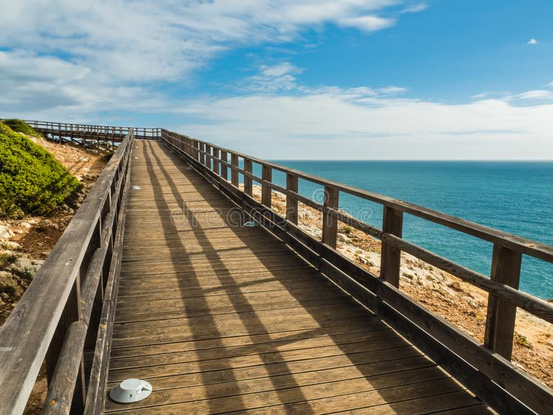 Algar Seco Cliff Walk, Carvoeiro, Portugal stockfotografie