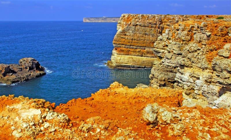 algarve海岸线美妙葡萄牙的sagres 库存图片