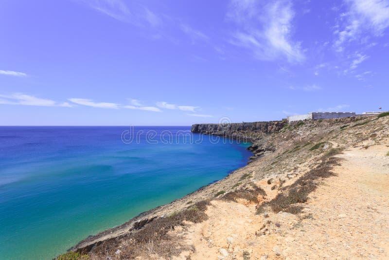 algarve fästning dess punktportugal sagres royaltyfri foto