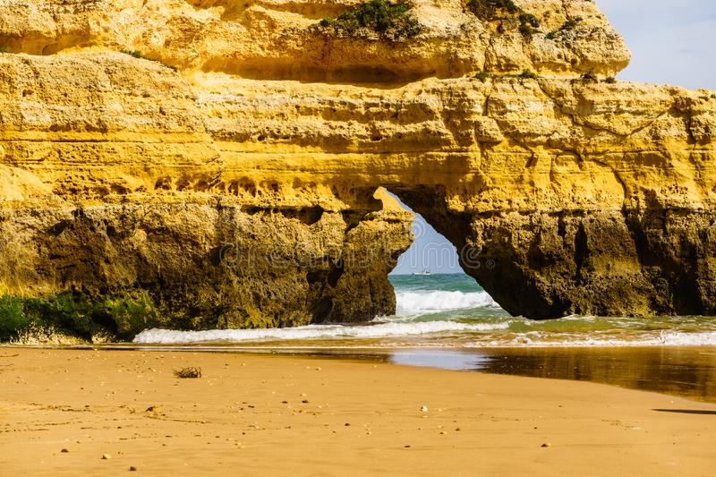Algarve, Portugal, a stunning sea ocean landscape with yellow rocks and azure water. royalty free stock image