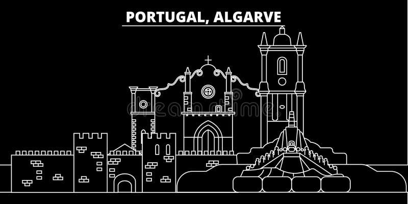 Algarve sylwetki linia horyzontu Portugalia, Algarve wektorowy miasto -, portuguese liniowa architektura, budynki Algarve podróż ilustracja wektor