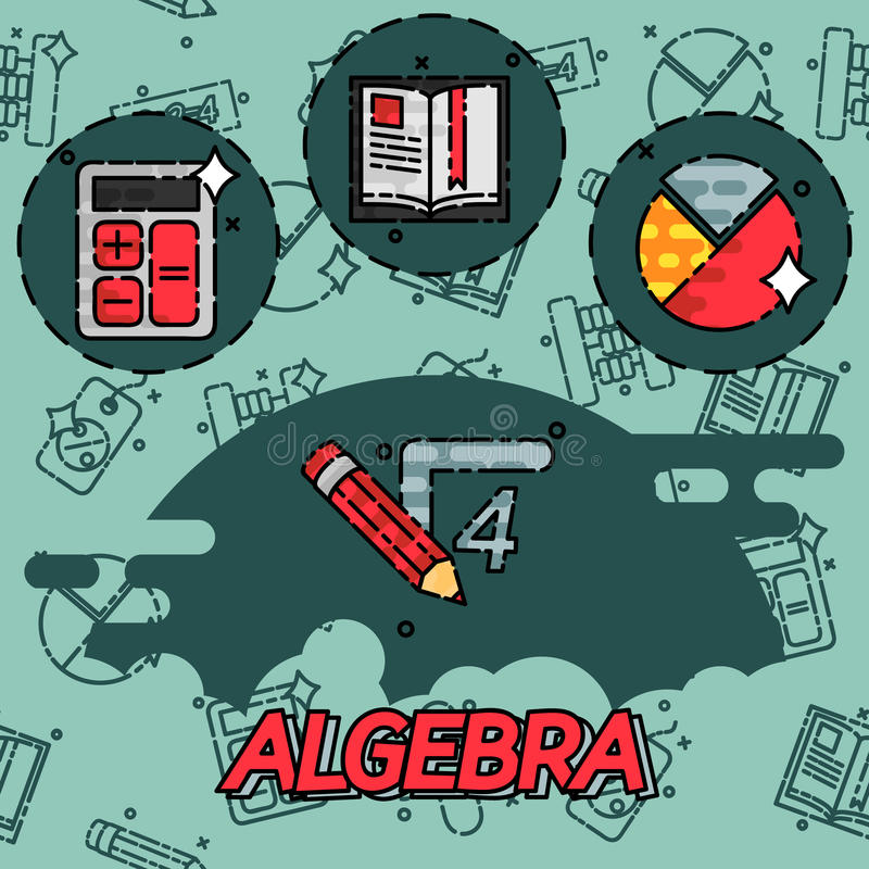 Algebra flat concept icons. Mathematical science. Algebra. Calculus. Geometry. Exact sciences. Education and scientific icons set. Vector flat design concept stock illustration