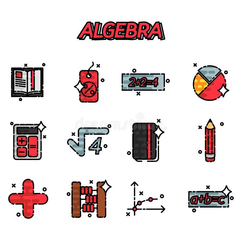 Algebra flat icons set. Mathematical science. Algebra. Calculus. Geometry. Exact sciences. Education and scientific icons set. Vector flat design concept stock illustration