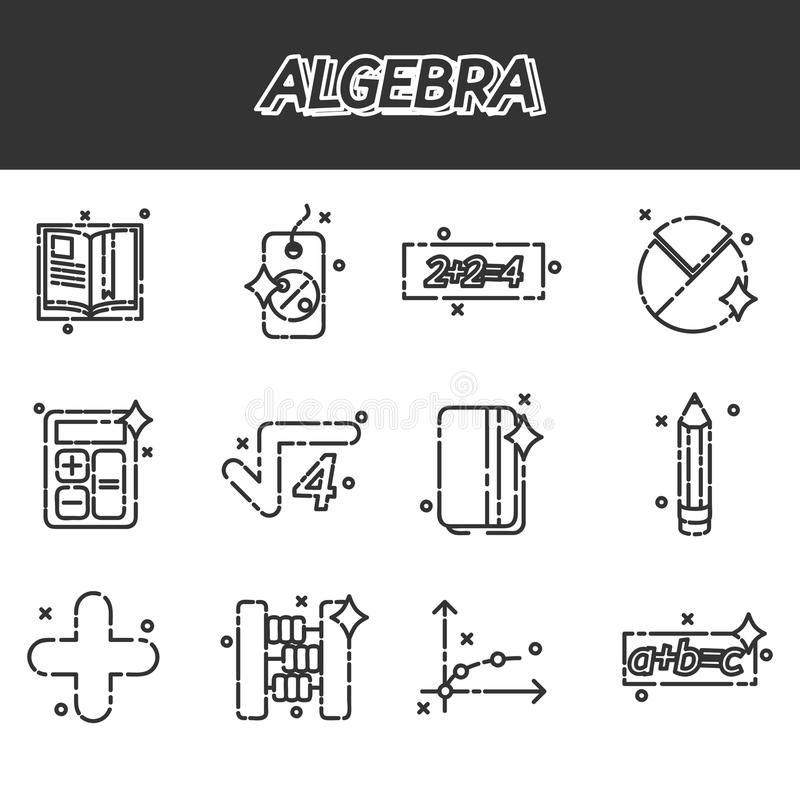 Algebra icons set. Mathematical science. Algebra. Calculus. Geometry. Exact sciences. Education and scientific icons set. Vector design concept royalty free illustration
