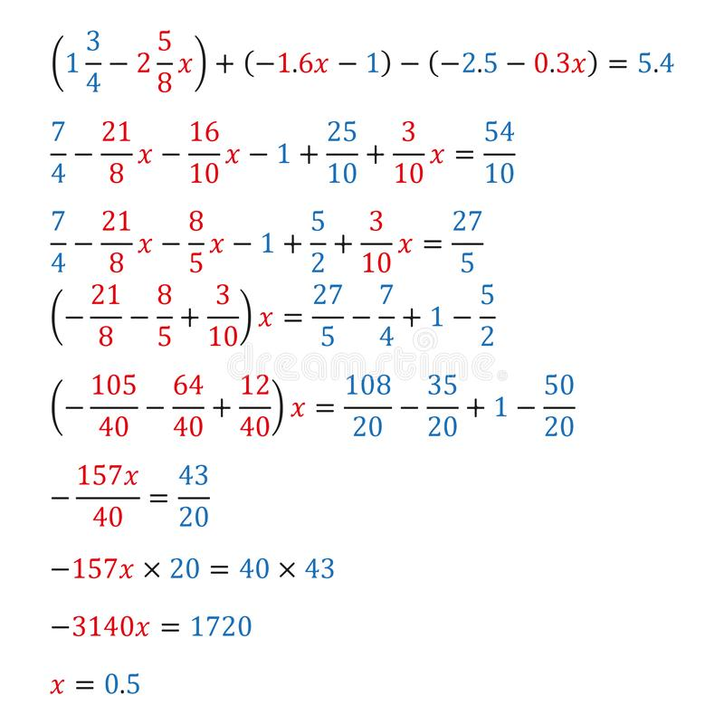 Algebraic equation with one variable equivalence equation decimal fractions. Algebraic equation with one variable opening of parentheses and arithmetic royalty free illustration