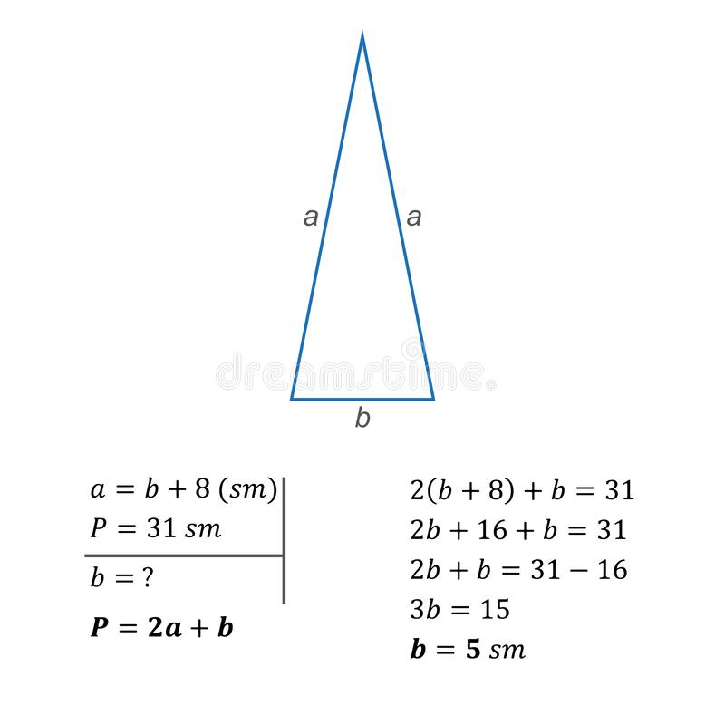 Algebraic equation with one variable integers formula for calculating the perimeter. The solution of a textual algebraic problem of composing an equation using stock illustration
